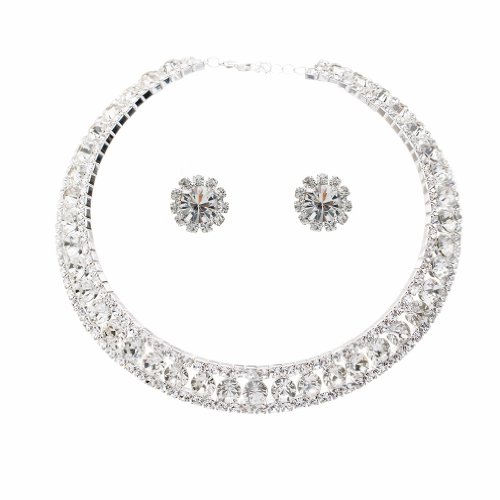 ... ACCESSORIESFOREVER Bridal Wedding Prom Jewelry Set Crystal Rhinestone Collar Choker Necklace Silver. Sale