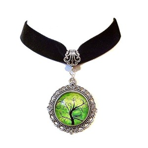 Black-Velvet-Choker-Necklace-w-Green-Tree-of-Life-Cameo-Pendant-0