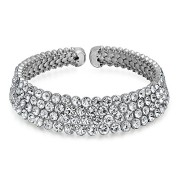 Christmas-Gifts-Four-Row-Crystal-Rhodium-Plated-Bridal-Dressy-Choker-Necklace-0