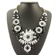 Fitwit-Trends-Cluster-Frontal-Bib-Flowers-Statement-Fashion-Necklace-Black-0