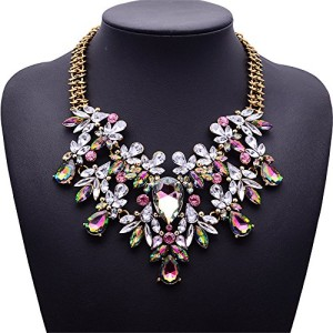 Girl-Era-Europe-Vintage-Costume-Jewelry-Multi-Crystal-Bib-Temperament-Necklace-0
