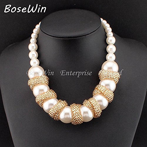 P-Jiw mom son necklace Gothic Fashion Chunky Gold Chain Chokers Wrapped  Around Big Pearl Necklaces Women Statement Jewelry CE2734 47d2ec8fd1bd