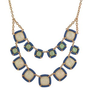 Real-Spark-Square-Cut-Stone-Modern-Deluxe-Style-Fashion-Chunky-Statement-Necklace-Blue-0