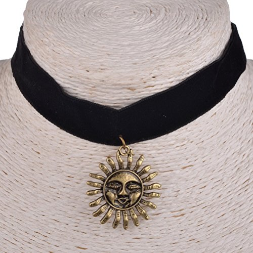 09f95d0bcee Retro Copper Sun Gold Plated Black Velvet Choker Necklace Pendant ...
