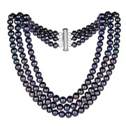 Sterling-Silver-Graduated-4-9mm-3-rows-Dyed-Black-Freshwater-Cultured-Pearl-Choker-Necklace-16-0