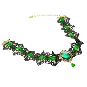 SusenstoneWomen-Lace-Beads-Choker-Style-Gothic-Collar-Necklace-Green-0