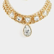 Trendy-Fashion-Jewelry-Chain-Choker-Tear-Drop-Accent-Necklace-Set-By-Fashion-Destination-Gold-0