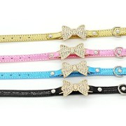 Viiler-Pet-Cat-Dog-Collar-Bling-Dog-Collar-Rhinestone-Pet-Dog-Cat-Collars-with-Bows-Tie-Dog-Jewelrys-Necklace-for-Small-or-Medium-Dogs-Cats-with-Adjustble-Buckle-CollarGold-XS-0-0