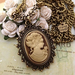 Vintage-Jewelry-1900s-Vintage-Cameo-Oval-Old-Antique-Bronze-Downton-Abbey-Pendant-Necklace-Boxed-Gift-Wrapped-0