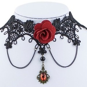 Virtual-Store-USA-Black-Lace-Choker-Pendant-Necklace-Beautiful-Design-Great-Quality-100-Satisfaction-Guarantee-0