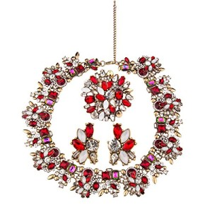 Zhenhui-3-Pieces-Elegant-Jewelry-Set-Vintage-Gold-Tone-Multicolored-Bling-Crystal-Glass-Choker-Statement-Bib-Collar-Necklace-Stud-Earrings-Set-for-Women-and-GirlsRed-0